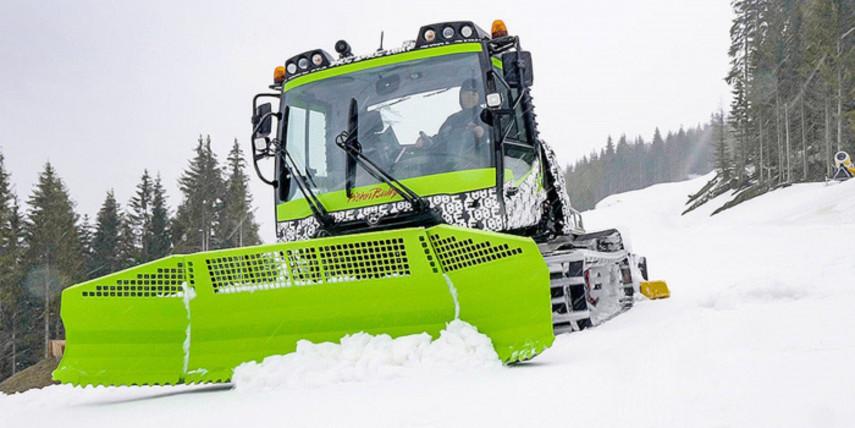 Для подготовки лыжных склонов придумали электрический ратрак (Видео)
